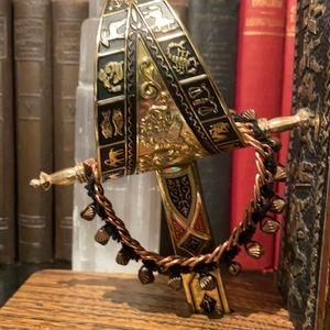 Vintage Solid Copper and Crochet Lace Bracelet